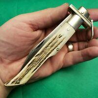 Rare Electric Cut Co Newark Ring Lock Folding Hunter Pocket Knives Knife Stag