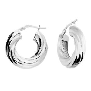 925 HALLMARKED SILVER CHUNKY 22MM X 5MM TWIST POLISHED HOOP EARRINGS