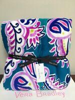 "NWT Vera Bradley Fleece Throw Blanket In Waikiki Paisley  80""x50"""