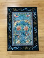 Antique Chinese Silk Embroidered Textile w/ 4 Bats or Butterflies & Floral Dec.