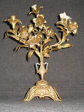 Ancien Bougeoir bronze laiton doré XIX 19 décor fleurs oiseaux enlacés religieux