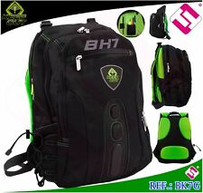 "MOCHILA GAMING KEEP OUT 15,6"" NYLON NEGRA VERDE MATERIAL PROFESIONAL PORTATIL"