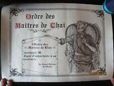 Ancien Diplôme Ordre des Maitres de Chai confrérie déco cave caveau Vin Vigne