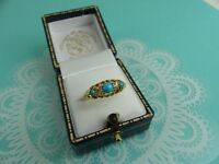 Antique Victorian 18ct Yellow Gold Turquoise and Diamond Ring Size P