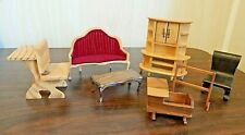 Lot of 7 Pcs. Vintage Wood Miniature Doll House Furniture, 4 w/Repaired Legs