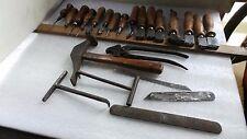 lot de 23 outils ancien  cordonnier cuir fers a lisser  iron  皮革用鉄を平滑化