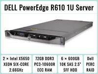DELL PowerEdge R610 1U Server 2×Six-Core Xeon 2.66GHz + 72GB RAM + 6×600GB RAID