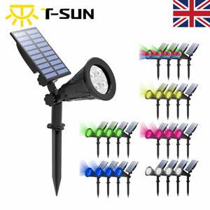 4Packs Solar LED Spotlight Waterproof Outdoor Garden Security Yard Spot Light UK