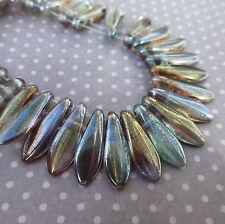 Brin de 50 perles en verre - 2 trous poignard perles lustre cristal rose DGR2-516-90001