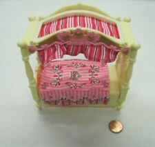 Rare Fisher Price Loving Family Dollhouse GIRLS CANOPY BED for BEDROOM Pink #2