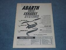 1960 Abarth Exhaust Systems Vintage Ad MGA Twin-Cam Volvo PV-444 Mercedes 190-SL