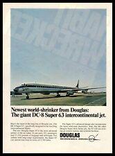 1967 McDonnell Douglas DC-8 Super 63 Intercontinental Jet Plane Vintage Print Ad