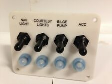 Marine grade OEM Replacement four 4 Toggle switch panel with 4 Breakers boat