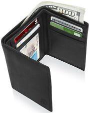Real de cuero delgada Billeteras para hombres Billetera triple de Hombre con Ventana Identificación de Bloqueo de RFID