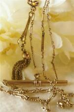 BEAUTIFUL ANTIQUE EDWARDIAN GOLD GF TASSEL DROP FOB WATCH CHAIN T/BAR NECKLACE