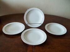 LOT: 4 Corning Centura Sculptured Rim TULIP SALAD PLATES -White, Platinum Trim