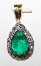 Victorian Look 925 Silver Pendant 1.69cts Rose Cut Diamond Emerald Antique