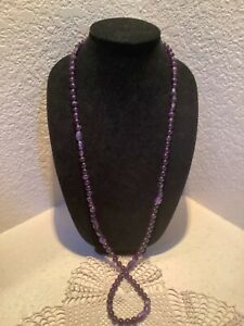 """STERLING SILVER JAY KING DTR PURPLE AMETHYST BEADED NECKLACE 40"""" LONG"""