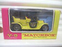 Lesney Matchbox Models of YESTERYEAR Y5 YELLOW 1907 PEUGEOT FSB + Orange Windows