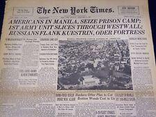 1945 FEB 5 NEW YORK TIMES - AMERICANS IN MANILA SEIZE PRISON CAMP - NT 525