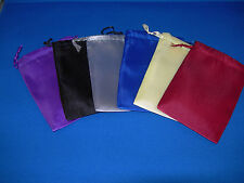 "NEW 6 ASSORTED SATIN DICE BAGS 3"" WIDE  X 4"" TALL RED BLU YEL GRY BLK AND PUR"