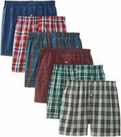 6 LOT Men's Checker Plaid Shorts Assorted Cotton Boxers Trunks Underwear