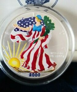 Silver Dollar Painted Walking Liberty 1 Ounce Silver 2000 sealed uncirculated