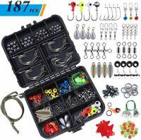 TOPFORT 187/230pcs Fishing Accessories Kit, Including Jig Hooks, Bullet Bass Cas