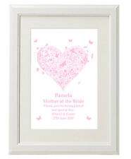 Unique Personalised Mother of the Bride Groom Print gifts Unusual present ideas