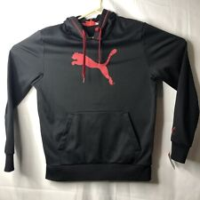 Puma Men's Hoodie Sweater Sport Black and Red Big Logo in Front Medium Size Vtg