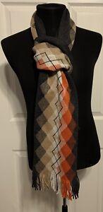 "Men's Johnston & Murphy Argyle 100% Wool Scarf Fringed, 75"" NEW"