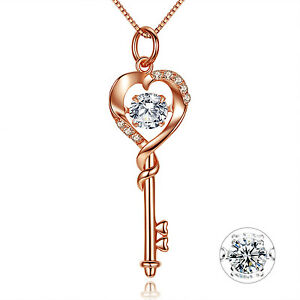 Heart Key Pendant Rose Gold Solid Sterling Silver Necklace Gifts for Women Her