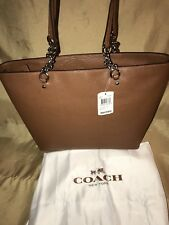"$295 NEW! Genuine 15""  COACH Sophia Brown-Saddle TOTE Handbag 36600 Zip & Chain"