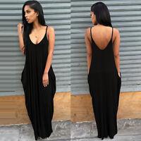 Women's Long Maxi Dress Loose Sleeveless Summer Beach Holiday Casual Sundress