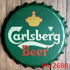 Tin Sign bottle cap carlsberg metal Bar Pub Retro Poster Cafe ART 35X35cm