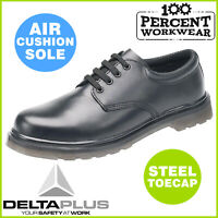 Comfortable Air Cushion Sole Derby Leather Mens Work Safety Shoes Steel Toe Cap