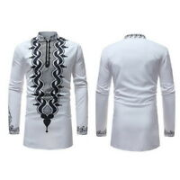 US Fashion African Mens Long Sleeve Casual Shirts Collar Slim Fit Dashiki Shirts