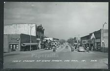 IA Sac City RPPC 50's MAIN STREET at 6th CARS STORES Coca Cola Sign by Cook 3A36