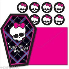 MONSTER HIGH SHAPED THANK YOU NOTES (8) ~ Birthday Party Supplies Stationery