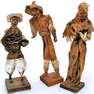 VINTAGE LOT 3 Collectible PAPER MACHE FOLK ART MAN WOMAN Latin Mexico Mexican