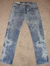 Looks New Mens Abercrombie & Fitch Jeans Sz 34 S 33 Light Wash Acid Wash Skinny
