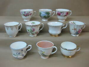 Job Lot 10 Pretty Vintage China Mismatched Tea Cups ~ Tea Room / Party / Wedding