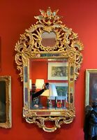 Antique 19th Century French Louis XIV Style Late Baroque Giltwood Mirror