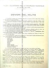 Milizia volontaria per la sicurezza nazionale-DOVERI DEL MILITE-1928