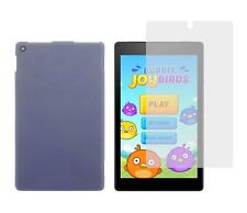 Light Blue TPU Skin Case and Screen Protector for Amazon Kindle Fire HD 8 2016