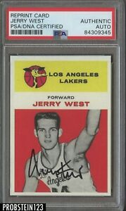 Jerry West HOF Signed 1961 Fleer RC Retro AUTO Los Angeles Lakers PSA/DNA