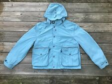 Burberry Men Jacket Hooded Coat Light Blue Rain Coat Size XL