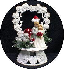SALE!! Christmas red Santa Wedding Cake topper ornament centerpiece Silver xmas
