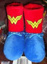 WONDER WOMAN Plush Velour Girls SLIPPERS Boot Medium 13-1 Red Blue