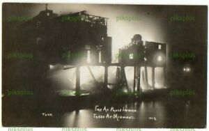 OLD POSTCARD FIRE AT MIDNIGHT PAUL'S MALTING IPSWICH SUFFOLK REAL PHOTO C.1910